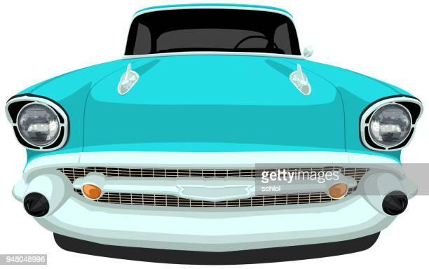 1957 classic american car - front view - front view stock illustrations