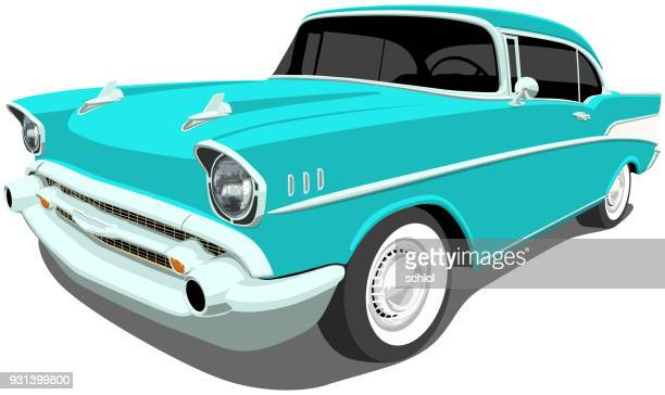 1957 classic american car - car stock illustrations, clip art, cartoons, & icons