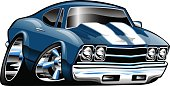 Classic American Muscle Car Cartoon Illustration