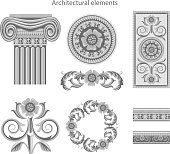 Classic architectural elements set. Vector illustration