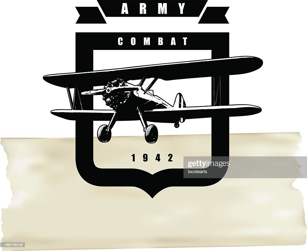 classic army shield with plane