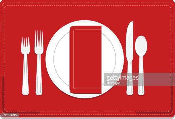 Classic, Basic 4-Piece Dinnerware Place Setting Set with Red Placemat, Napkin
