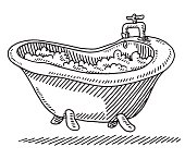 Classic Bathtub Bubbles Water Drawing