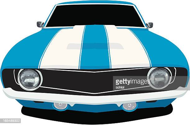 classic blue camaro ss - front view - vehicle hood stock illustrations, clip art, cartoons, & icons