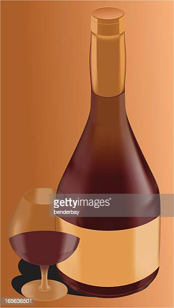 classic brandy bottle with glass. - brandy stock illustrations, clip art, cartoons, & icons