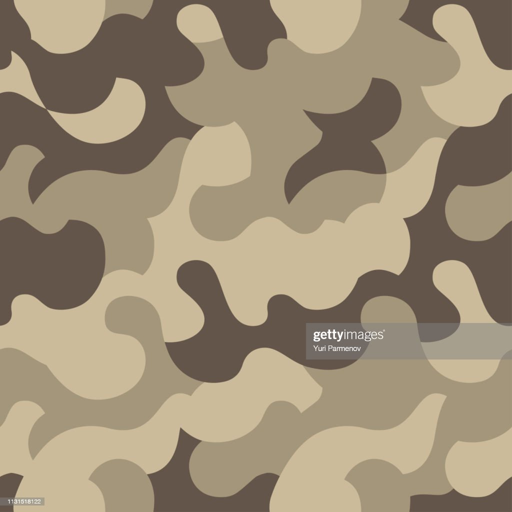 Classic brown camouflage, military texture, seamless camo pattern. Desert color . Vector