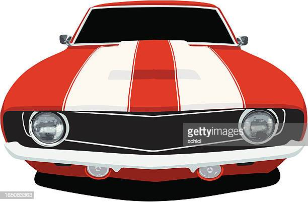 classic camaro - front view - vehicle hood stock illustrations, clip art, cartoons, & icons