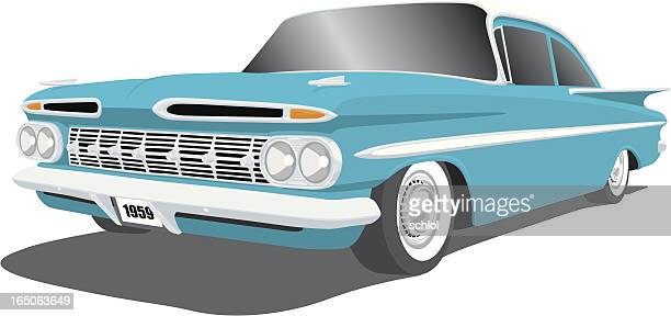 classic car - 1959 chevy impala - 1950 1959 stock illustrations