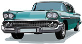 Classic Car American Sketch Vector