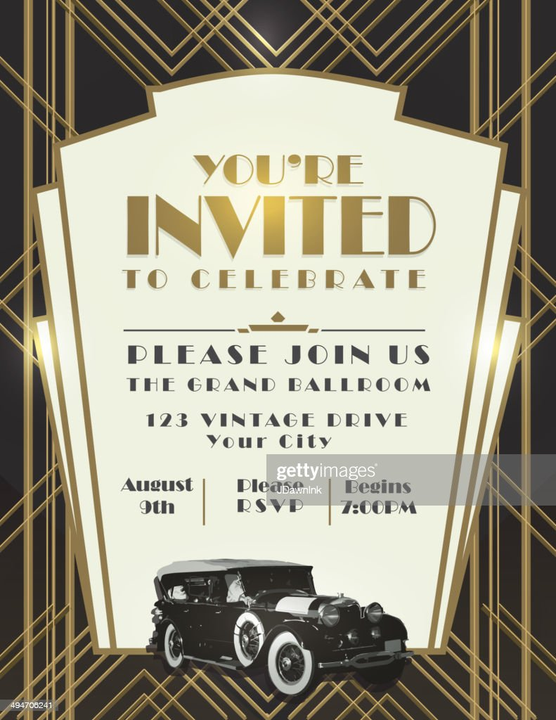Classic car and Art Deco style vintage invitation design template