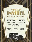 Classic car and Art Deco style vintage invitation design template