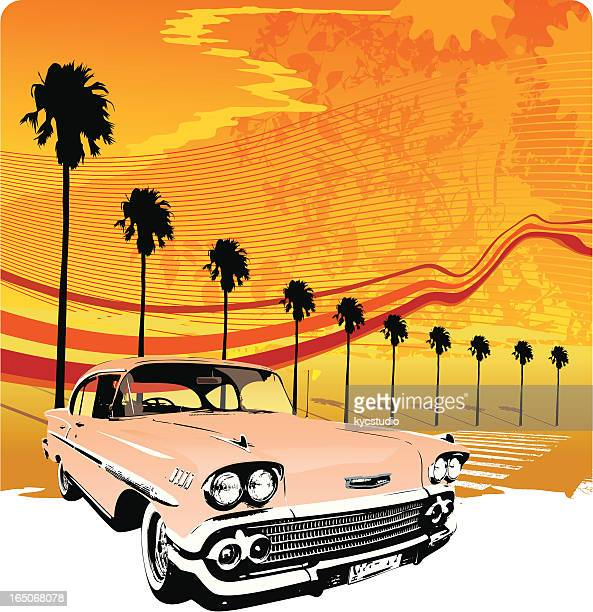 Classic Car and Palm Trees