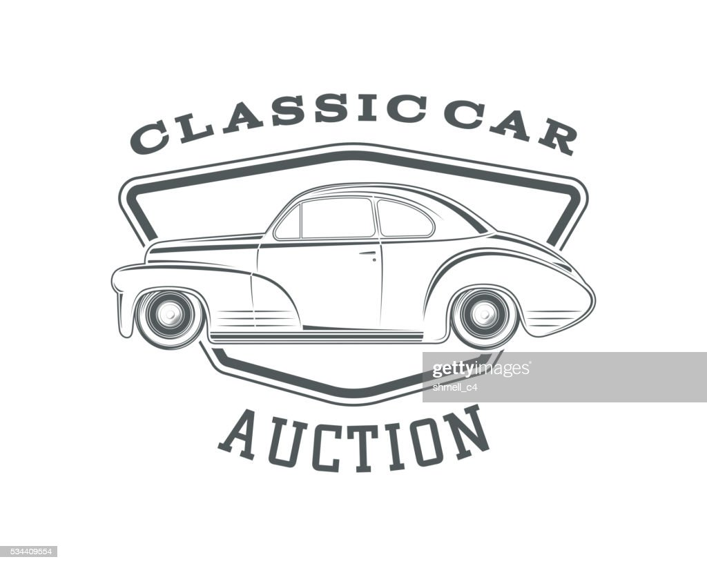 Classic car auction badge template.