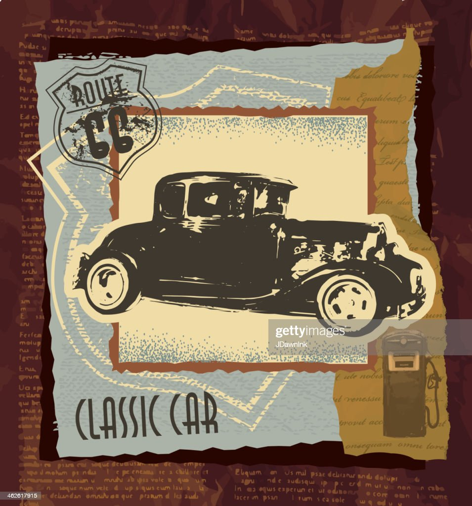 Classic Car Route 66 Gasbar Scrapbook Page Photobook Layout Vector