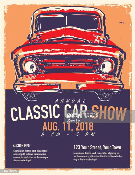 classic car show and exhibition advertisement poster design template - motor show stock illustrations