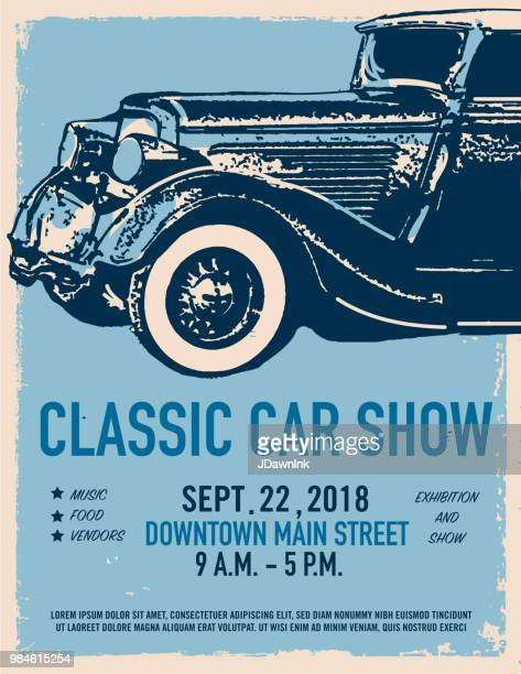 Classic car show and exhibition advertisement poster design template