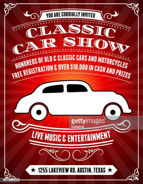 classic car show poster on red background - motor show stock illustrations