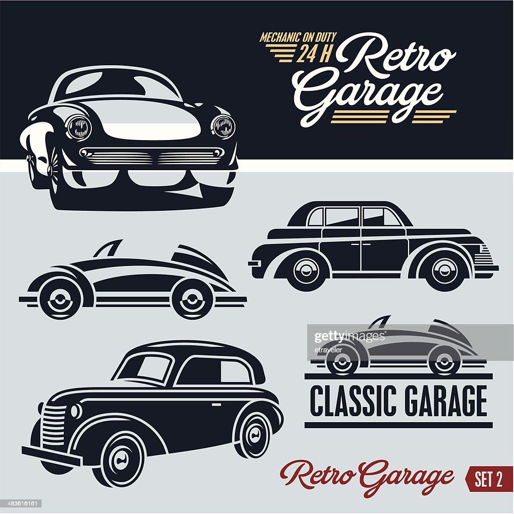 Classic cars. Retro cars garage.