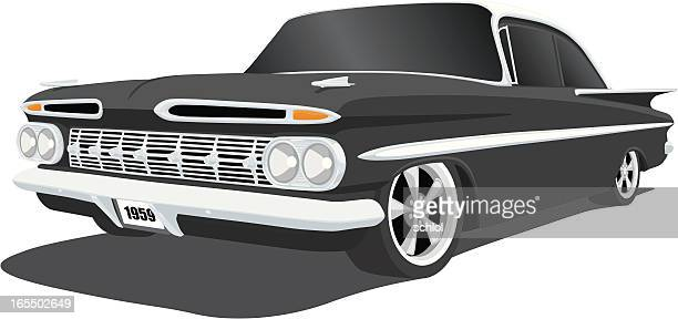 classic chevrolet impala - hood ornament stock illustrations