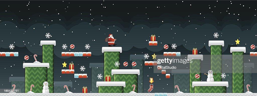 Classic Christmas Arcade game : stock illustration