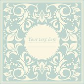 Classic circle frame with vintage ornament