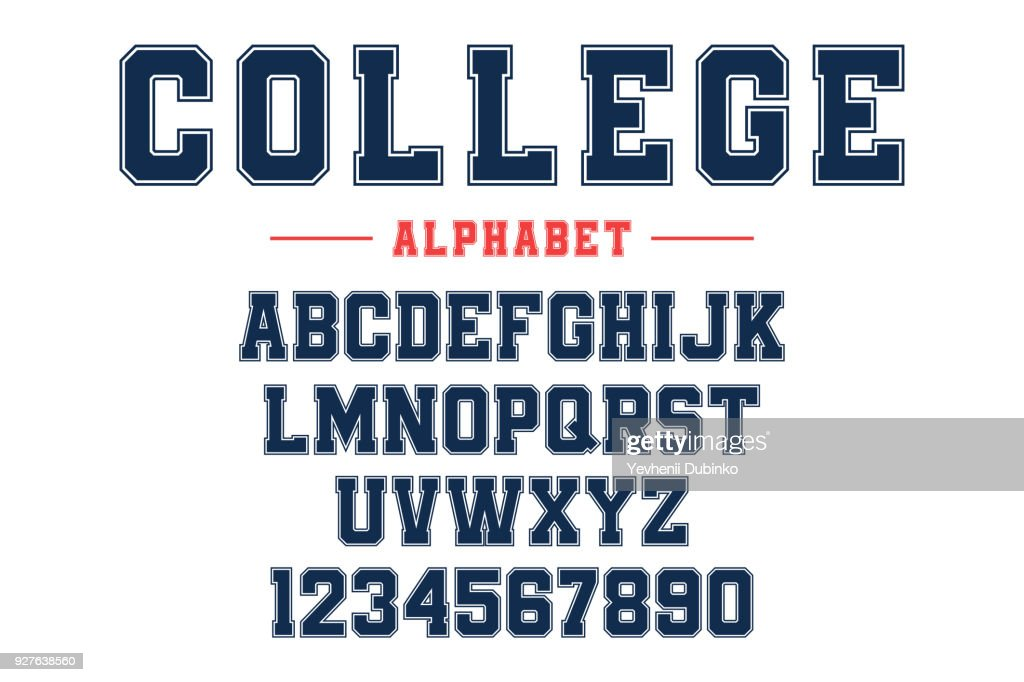 Classic college font. Vintage sport font in american style for football, baseball or basketball t-shirts. Athletic department typeface, varsity style font