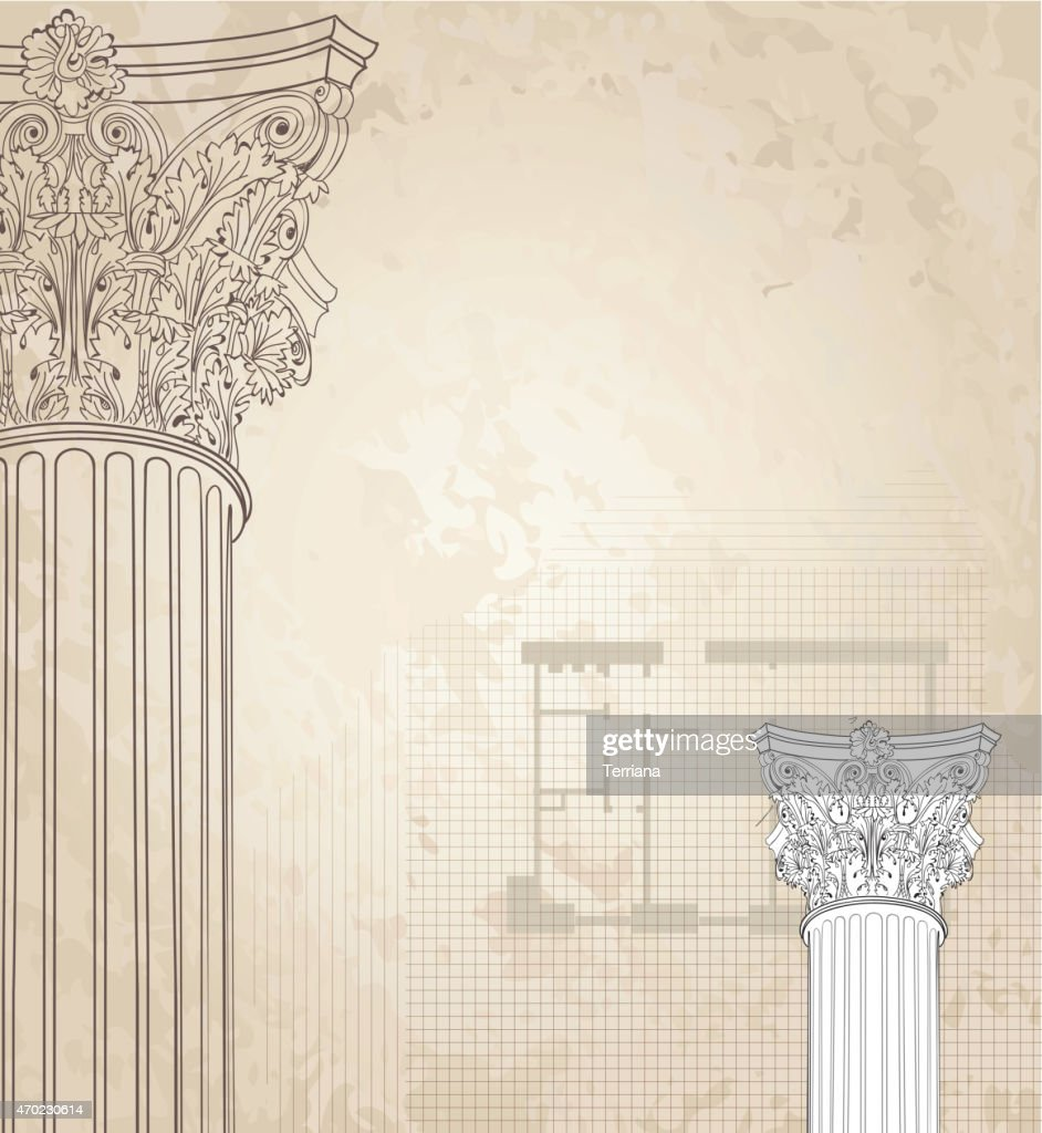 Classic columns  background. Architectural old paper textured wallpaper