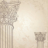 Classic columns background. Roman corinthian column. Illustration on old paper background