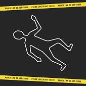 classic crime scene with white outline body