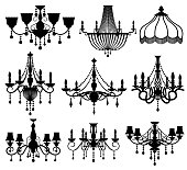 Classic crystal glass antique elegant chandeliers black vector silhouettes