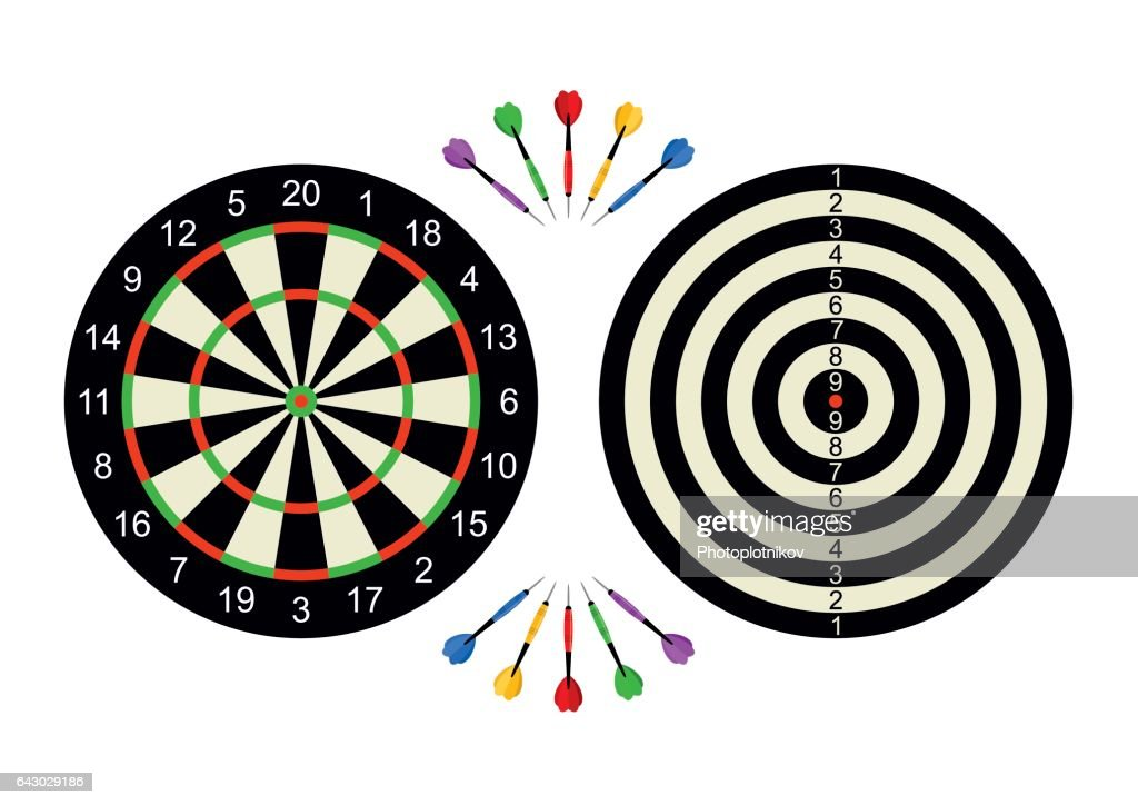 Classic dart board front and back with darts arrow isolated on white background. Vector Illustration