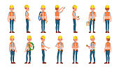 Classic Electrician Vector. Different Poses. Working Man. Isolated Flat Cartoon Character Illustration
