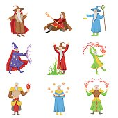 Classic Fantasy Magicians Set Of Characters. Fairy