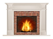 Classic fireplace with red brick and furnace