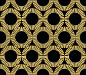 Classic gold patterns with 3d effect on black background, seamless ornament in damask style, golden circle shape on black area