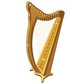 Classic gold sparkle harp, cartoon style