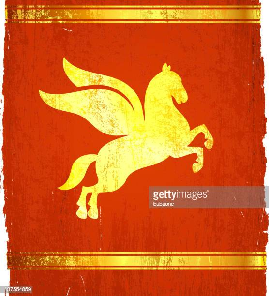 classic greek pegasus on royalty free vector background - pegasus stock illustrations, clip art, cartoons, & icons