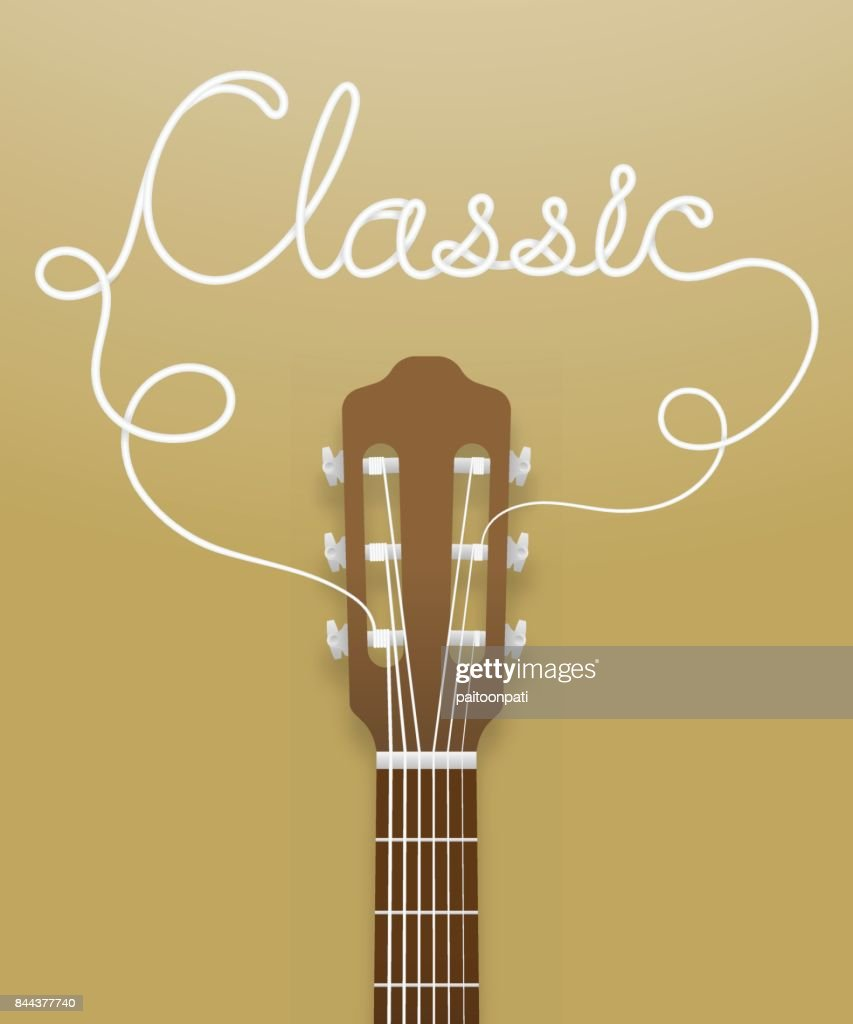 Classic guitar brown color and classic text made from guitar strings illustration concept idea isolated on light brown gradient background, with copy space vector eps10