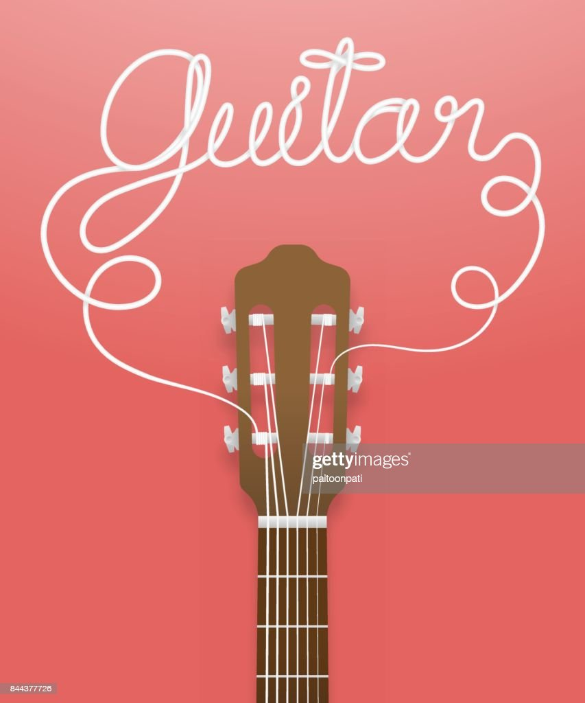 Classic guitar brown color and guitar text made from guitar strings illustration concept idea isolated on pink gradient background, with copy space vector eps10