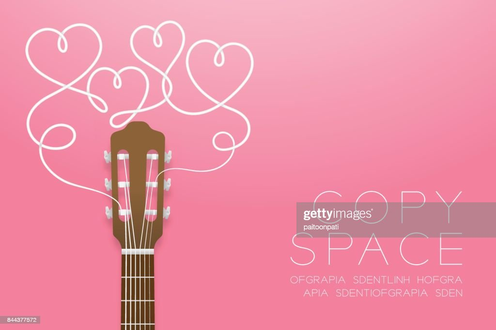 Classic guitar brown color and heart symbol made from guitar strings illustration concept idea isolated on pink gradient background, with copy space vector eps10