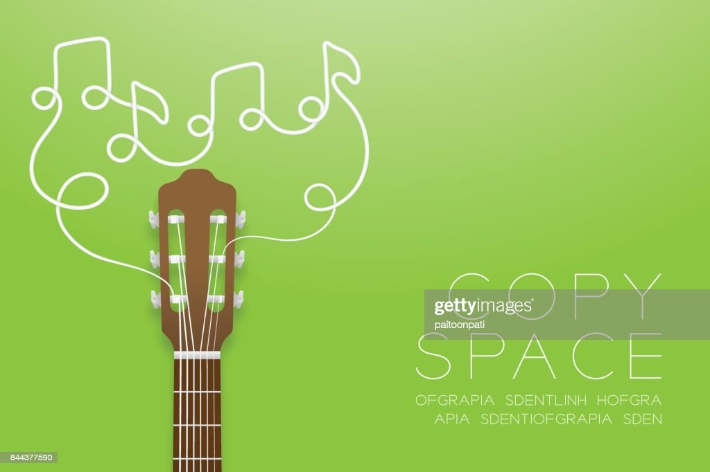 Classic guitar brown color and music note symbol made from guitar strings illustration concept idea isolated on green gradient background, with copy space vector eps10
