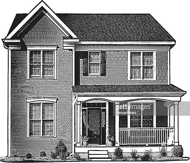 classic home - engravement stock illustrations