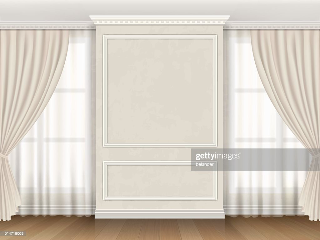 Classic interior with panel moldings and windows curtains