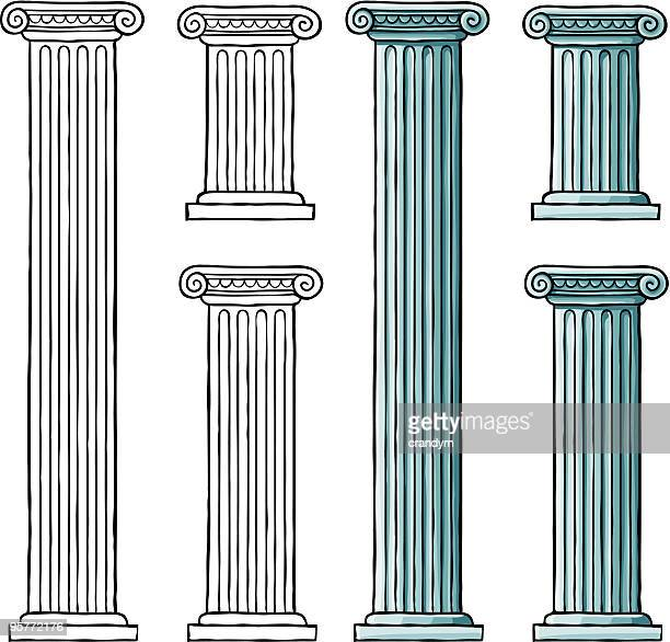 classic ionic columns - greek culture stock illustrations, clip art, cartoons, & icons