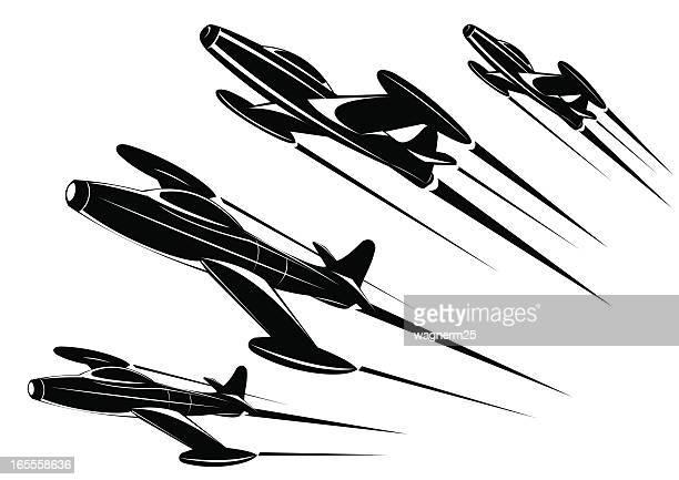 classic jet plane - two views - korean war stock illustrations, clip art, cartoons, & icons