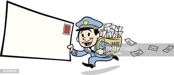 illustrations, cliparts, dessins animés et icônes de classic mailman - facteur
