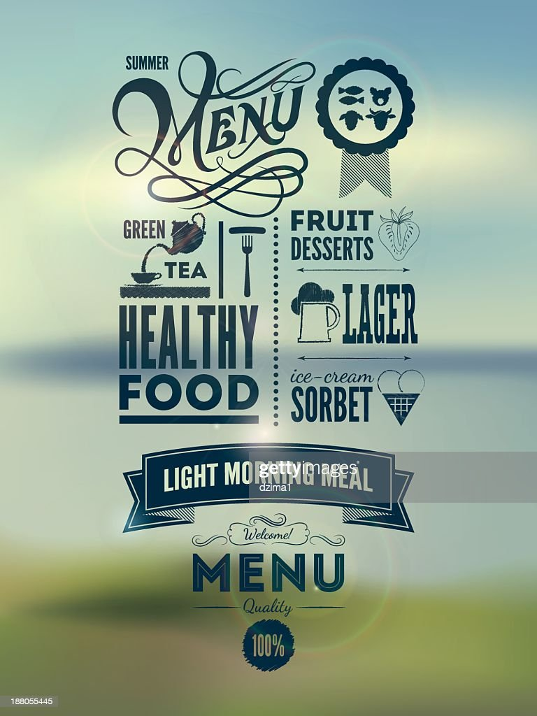 Classic menu layout for hip new restaurant