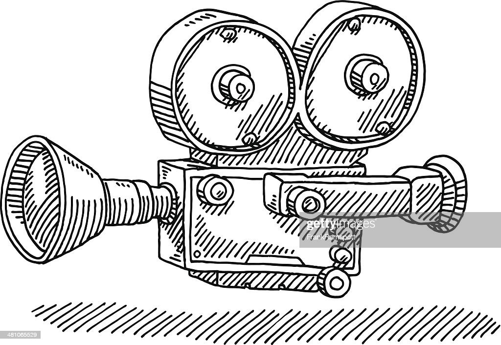 classic movie camera drawing vector art getty images