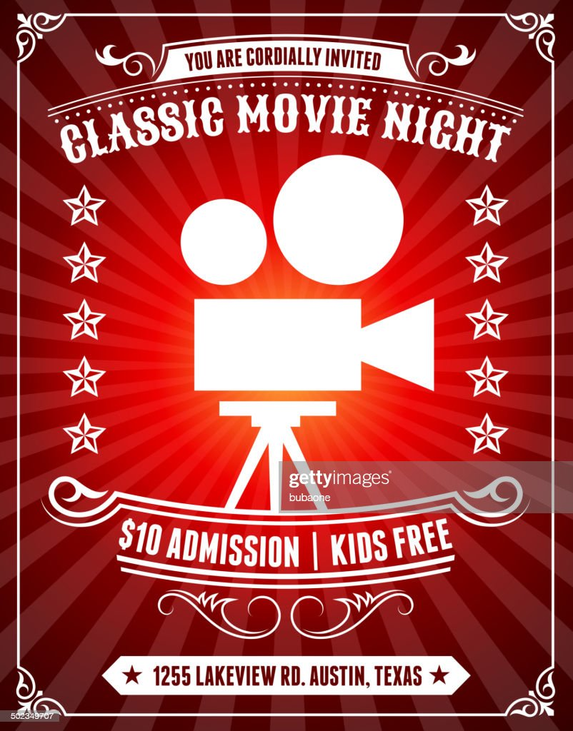 Classic Movie Night Poster on Red Background : stock illustration