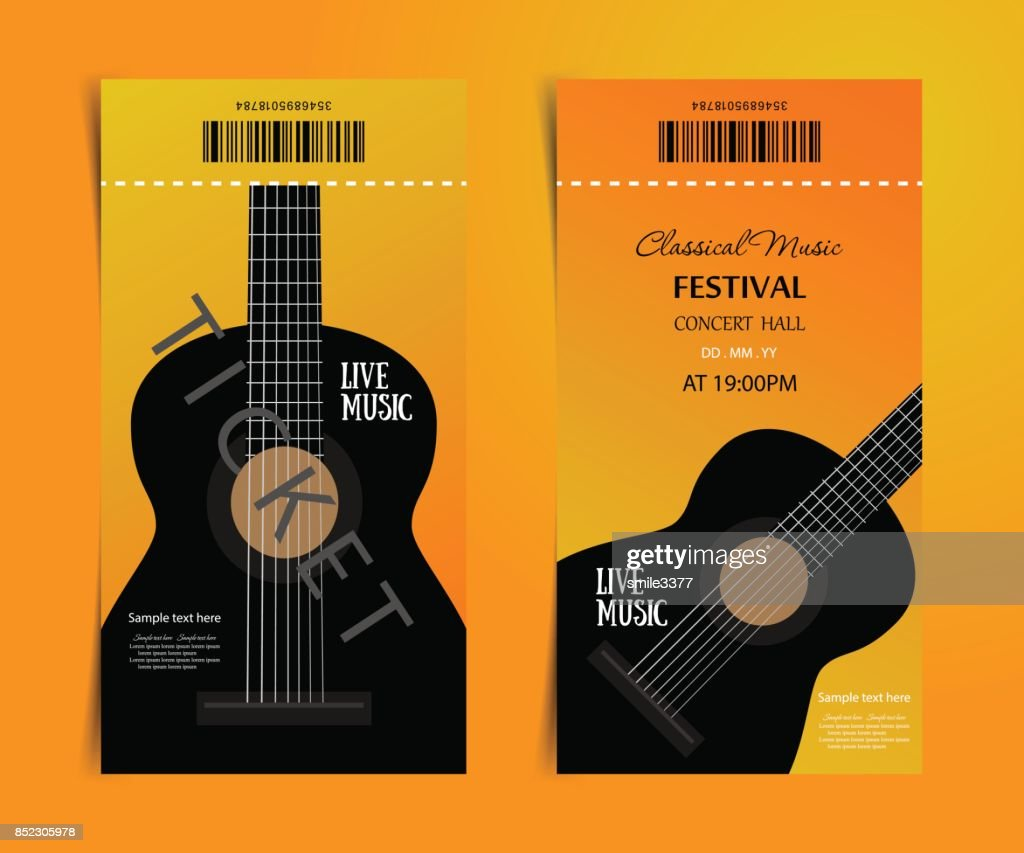Classic Music, Festival, vector ticket design template with guitar